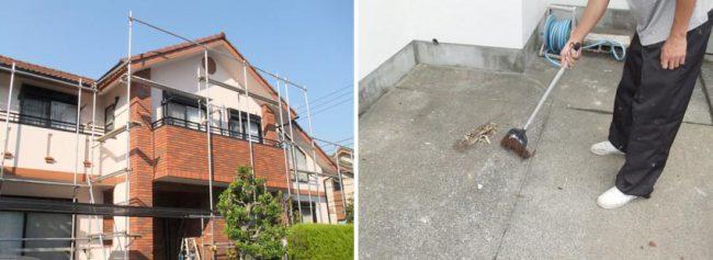 施工の流れ8日目 足場の解体と掃除の様子