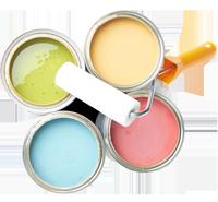 パステルカラー色の塗料缶4つとローラー