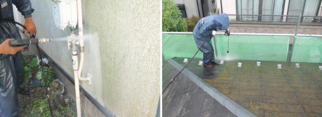 施工の流れ2日目 高圧洗浄の様子